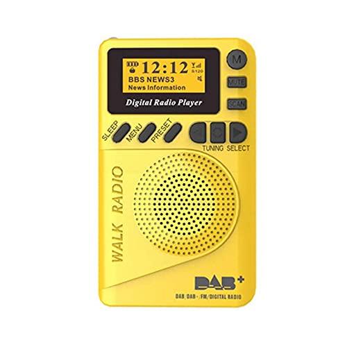 Mini altavoz de radio, FM Radio SD tarjeta MP3 con batería recargable pantalla LCD pequeño bolsillo portátil digital DAB/DAB
