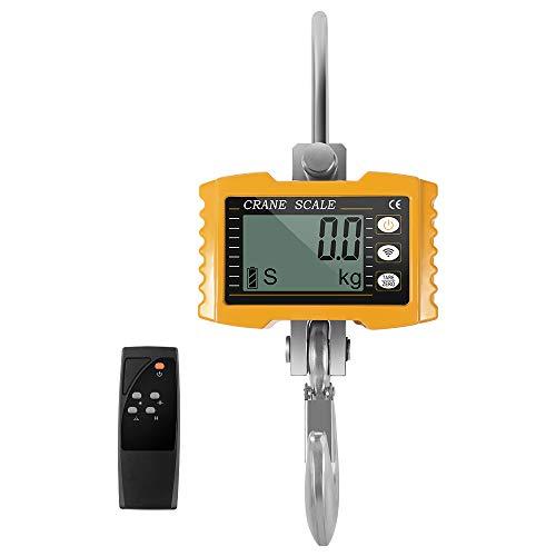 KKTECT Balanza industrial para colgar Carga 1000KG (2200LBS) Escala de grúa digital Pantalla LCD con control remoto, para la granja de la fábrica (Amarillo)