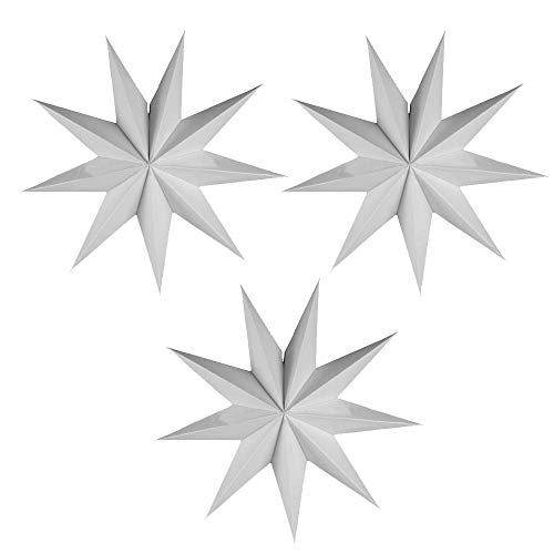 EOPER 3 Pieces 9 Pointed Paper Star Lanterns 12 Inch Hanging Lampshade for LED Light Wedding Birthday Party Decor, White