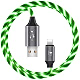 6.6ft LED Phone Charger Cable - Light Up Visible Flowing Charger Charging Cord Compatible with Phone11 Pro Max XS XR X 8 7 6S 6 Plus 5S 5(Black line Green Light)