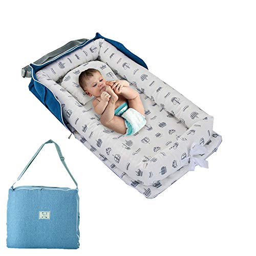 USTIDE Baby Bassinet White Strawberries With Crown Girls Cradle Soft Portable Co-Sleeping Crib for Bedroom with Quilt 3 Pieces