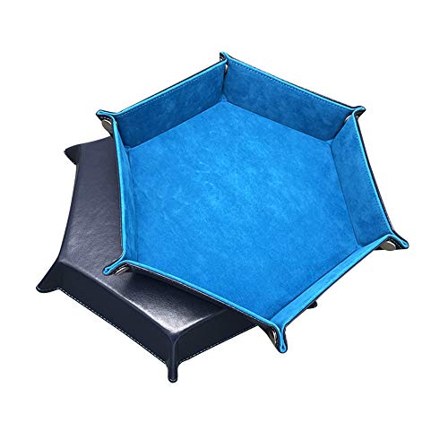 STYLIFING Dice Tray Metal Dice Rolling Tray for RPG, DND and Other Table Games, Dice Holder Storage Box, Protect Table, Double Sided Folding Rectangle PU Leather and Velvet (Peacock Blue)