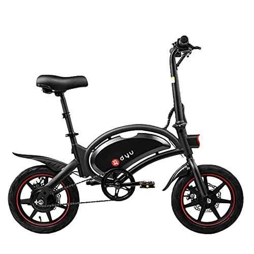 DYU D3F Bici elettriche Pieghevole - 14 Pollici Portatile Bicicletta Pedalata Assistita per Adulto, 250W Motore 36V 10Ah batteria con 3 modalità di Guida, velocità 20km h, Sella Regolabile