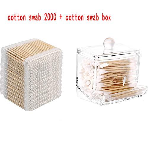 ZUEN Coton-Tige en Bambou 2000 Pièces, 100% Biodégradable, Compostable Coton Végétalien Durable Premium Cotton Swab Box