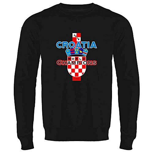 Croatia Soccer 2018 World Champions Black XL Crewneck Sweatshirt for Men