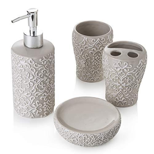 MONTEMAGGI Set 4 Pezzi in Ceramica da Bagno Classic Tortora Include Dispenser, portaspazzolino, Bicchiere e portasapone