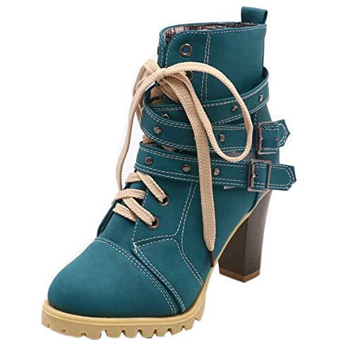 Alikeey Rivet High Thick Laarslaarzen voor dames, met korte laarzen, voor vrije tijd