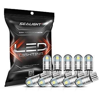 SEALIGHT 194 LED Bulbs 6000K White 168 2825 T10 W5W 3030 Bright LED Chips Dome Light Map Light Door Light Courtesy Light License Plate Light Pack of 10