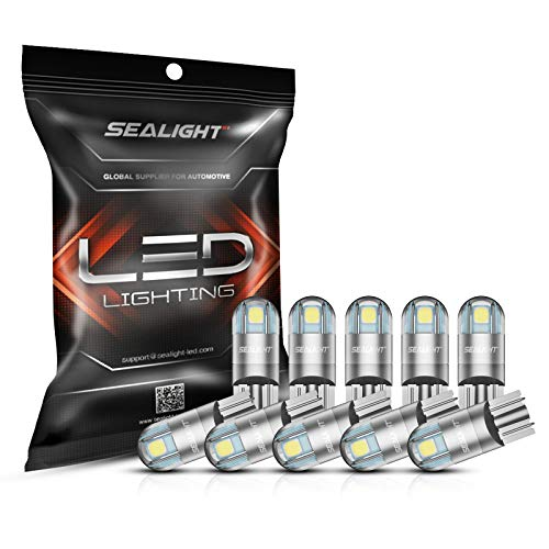 SEALIGHT 194 LED Bulbs 6000K White, 168 2825 T10 W5W 3030 Bright LED Chips, Dome Light, Map Light, Door Light, Courtesy Light, License Plate Light, Pack of 10