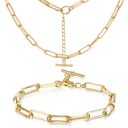 Gold Chain Necklace for Women 18K Gold Chain Bracelet Dainty Paperclip link Chunky Chain Choker Necklace Set Jewelry Gift for Men Women Girls