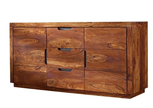 MASSIVMOEBEL24.DE Sheesham Massivmöbel lackiert Sideboard Palisander Holz massiv Massivholz walnuss Duke #125