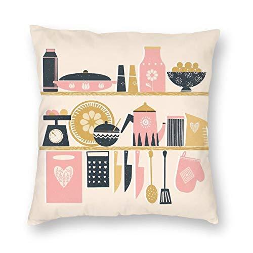 Meius Colorful Cooking In A Mid Century skandinavische Küche Samt weicher dekorativer quadratischer Kissenbezug Kissenbezug für Wohnzimmer Sofa Schlafzimmer mit unsichtbarem Reißverschluss 50,8 x 50,8 cm