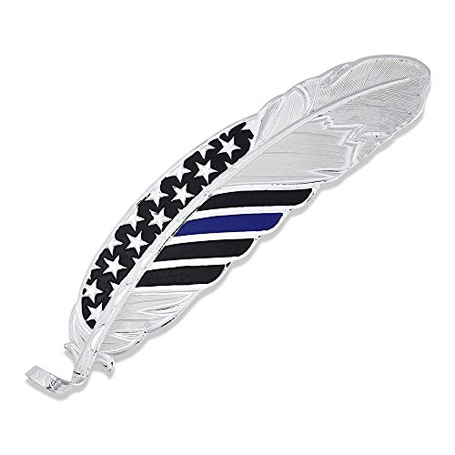 Montana Silversmiths Hand Painted Hat Feather (Thin Blue Line – Silver)