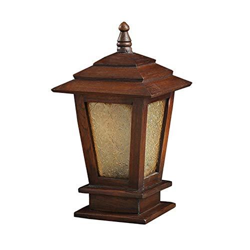 LifeX Antique en Bois Massif Patio Éclairage De La Colonne Extérieure Lampe De Colonne en Rétro en Bois Lampe De Jardin À L'extérieur avec Couvercle en Verre Paysage Lampe De Jardin (Taille : L)