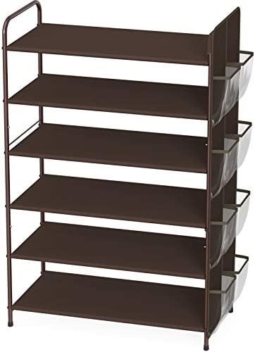 Simple Houseware 6 Tier Shoe Rack Storage Organizer 34 Pair w Side Hanging Bag Bronze product image