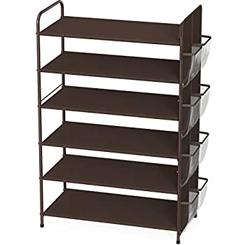 Simple Houseware 6-Tier Shoe Rack Storage Organizer 34-Pair w/ Side Hanging Bag Bronze