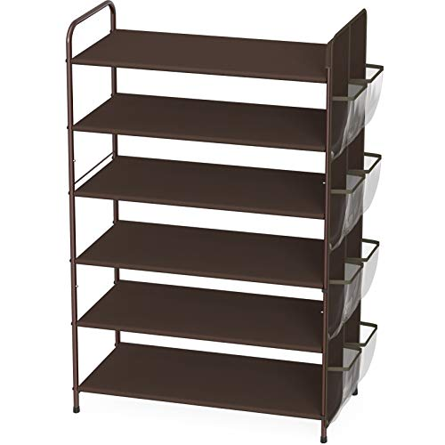 Simple Houseware 6-Tier Shoe Rack Storage Organizer 34-Pair w/ Side Hanging Bag, Bronze