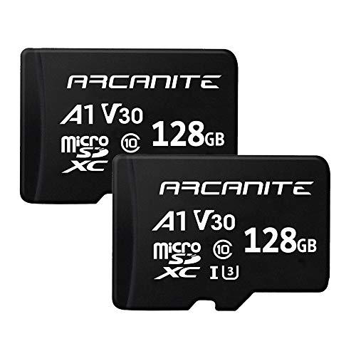 ARCANITE 2 Stücke 128 GB microSDXC Speicherkarte - UHS-I U3, A1, V30, 4K, C10, microSD, Lesegeschwindigkeiten von bis zu 90 MB/s.