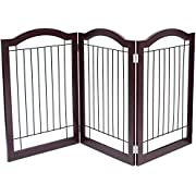 Internet's Best Wire Dog Gate with Arched Top - 3 or 4 Panel - 30 Inch Tall Pet Puppy Safety Fence - Fully Assembled - Durable Wooden - Folding Z Shape Indoor Doorway