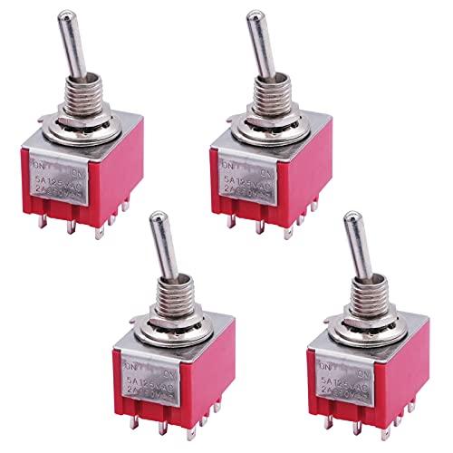mxuteuk Mini interruptor de palanca en miniatura de 4 unidades, 9 terminales 2 posiciones 3PDT tablero de salpicadero de coche ON/ON 5A 125V 2A 250V, MTS-302