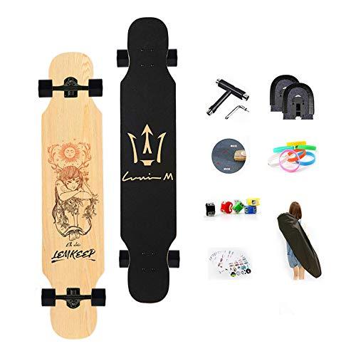 WRISCG Longboard 25x107cm Skateboard 8 Capas Flexible de Arce Tabla Completa, Rodamientos ABEC Alta velicidad, Drop-Through Freeride Skate Cruiser Boards, con Superficie Antideslizante,B