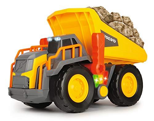 Dickie Toys Volvo Spielzeug Kipplaster mit Gewichtserkennung, Weight Lift Truck, LKW Kipper, erkennt 3 verschiedene Gewichtsstufen, bewegliche Ladefläche, Licht & Sound, inkl. Batterien, 30 cm