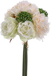 Way Home Fair Blush & White Peonies, Sedum, Silk Peony & Rose Bouquet, Artificial Flowers, Wedding Bouquet