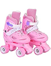 LLSZ Roller Skates Adjustable for Kids,Double Row 4 Wheel With All Wheels,Fun for Girls and Ladies (Color : Pink, Size : S)