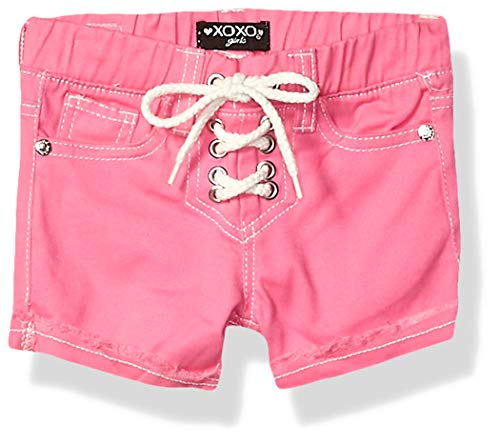XOXO Girls' Toddler Stretch Twill Short, Lace up Pink, 3T