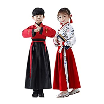 Chinese Traditional Hanfu Dress Suit for Kids Han Dynasty Costume Red Dress  Large