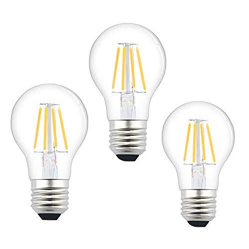 Luxvista Edison Glühbirne A19 4W E27 Vintage Lampe Filament Leuchtmittel Warmweiß 3000K AC/DC 12-36V 360°Ausstrahlwinkel Ersatz zu 50W für Dekor Nostalgie und Retro Beleuchtung(3 Stück, Nicht Dimmbar)