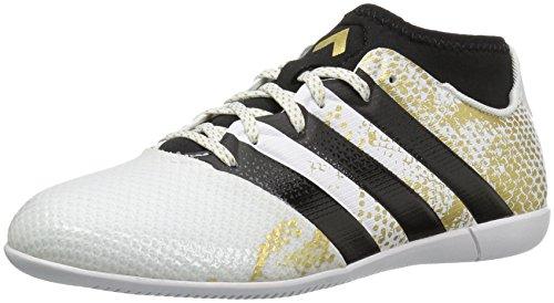 adidas Performance Kids' Ace 16.3 Primemesh Indoor Soccer Shoe (Little Kid/Big Kid), White/Black/Metallic Gold, 1.5 M US Little Kid