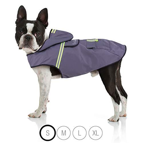 Bella & Balu Hunderegenmantel – Wasserdichter Hundemantel mit Kapuze und Reflektoren für trockene, sichere Gassigänge, den Hundespielplatz und den Urlaub mit Hund (S | Grau)