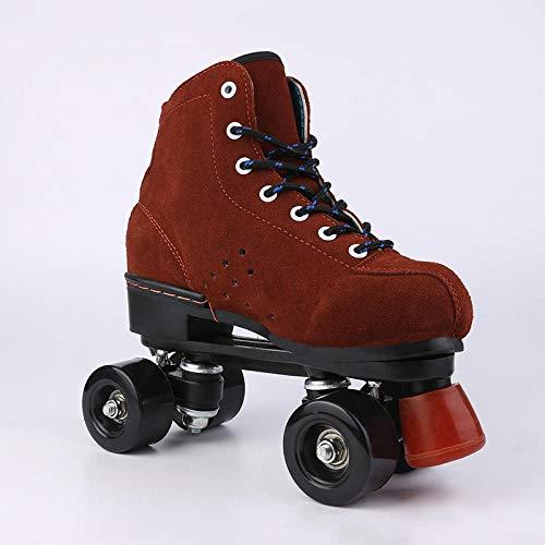 WALLHANG Quad Rollschuhe Roller Skate,Mattiertes Rindsleder,braun,Skating Dance Retro,geeignet für Anfänger, 38
