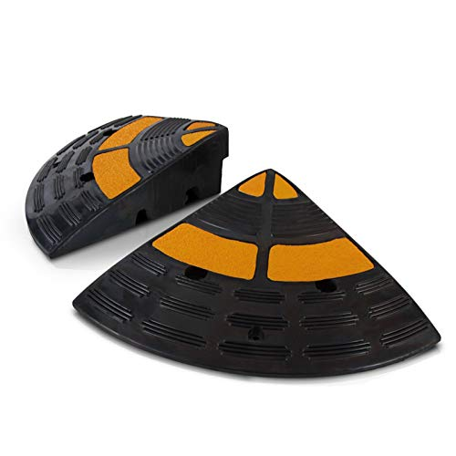 Vehicle Curb Ramp End Caps - 2PC Heavy Duty Rubber Threshold Driveway End Caps for Loading Dock, Garage, Sidewalk, Truck, Scooter, Bike, Motorcycle, Wheelchair Mobility - Pyle PCRBDR40