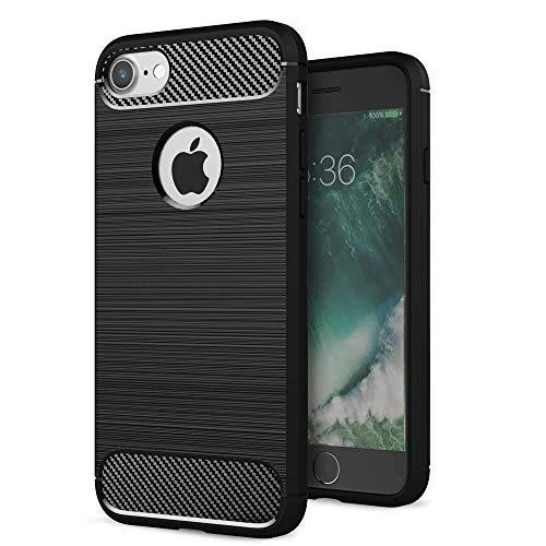 Carcasa para iPhone 7 Plus con efecto de fibra de carbono y aspecto de metal cepillado, a prueba de golpes, protección de lentes de cámara para hombres, mujeres y niños