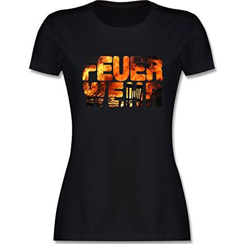 Feuerwehr - Feuerwehr Flammen - XL - Schwarz - Shirt Feuerwehr - L191 - Tailliertes Tshirt für Damen und Frauen T-Shirt