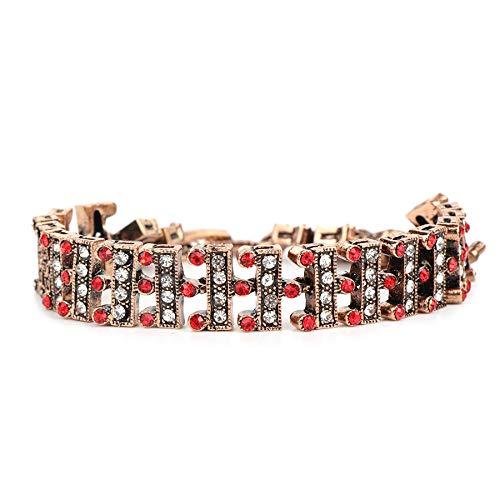 Charm Pulsera de cristal azul para las mujeres de la moda de oro corona eslabones pulseras vintage joyería roja 18 cm