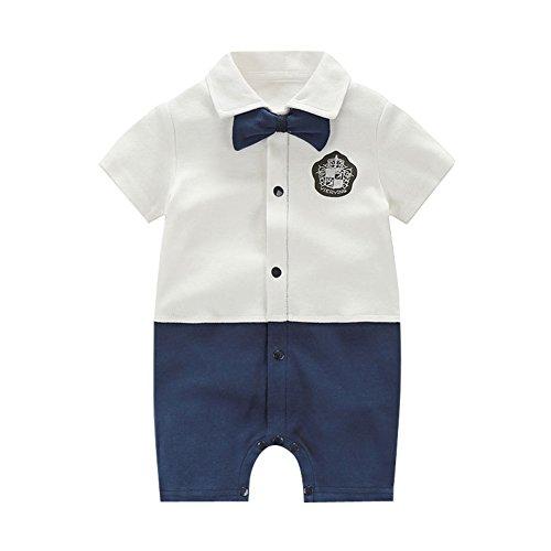 Fairy Baby Baby Outfits Jungen Smoking Anzug Kurze Abendkleider Festliche babymode Kleidung mit Fliege Strampler, Weißes Abzeichen, 3-6 Monate