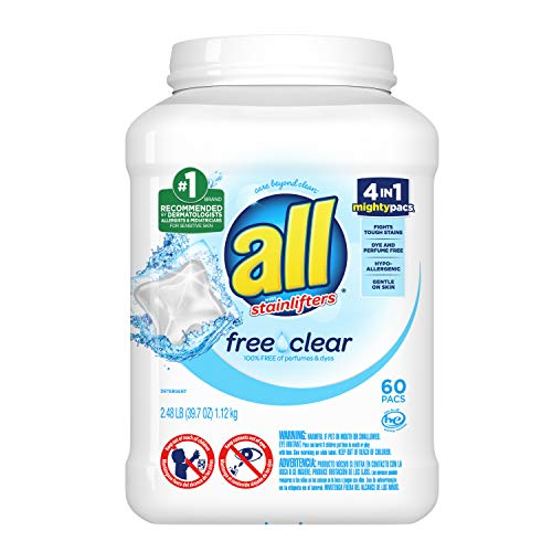All Mighty Pacs Laundry Detergent Free Clear for Sensitive Skin, Tub, 60 Count