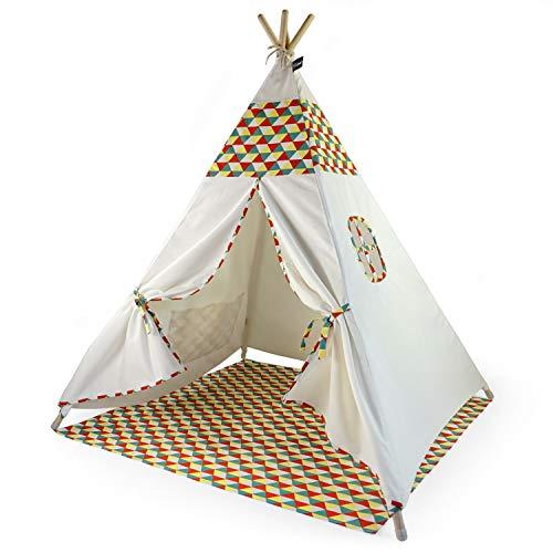 Hej Lønne Kinder Tipi, weißes Zelt mit Buntem Muster, ca. 120 x 120 x 150 cm groß, Spielzelt mit Bodendecke und Fenster, inkl. Beutel und Anleitung, für drinnen und draußen, schadstofffrei