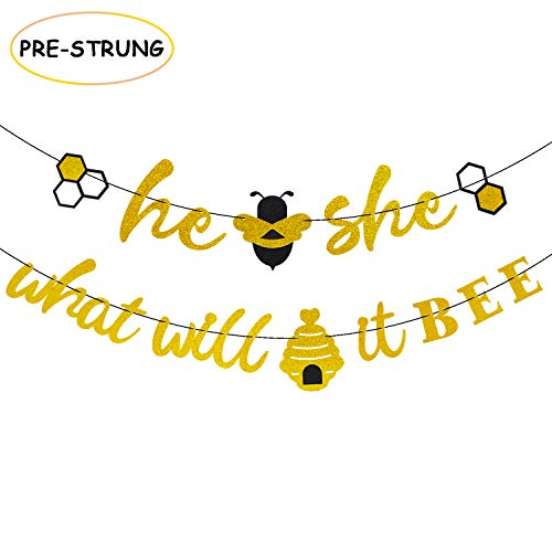He or She What Will It Bee Banner Gender Reveal Garland with Bee and Beehive Baby Shower Glitter Party Favor Supplies Decorations
