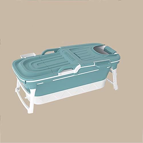B&G Bañera Plegable para Adultos, Bañera para Niños Adultos para Adultos, Bañera De Baño De Cuerpo Completo, Cubo De Baño De Bebé, Bañera Azul con Tapa,Azul,118x60x58cm