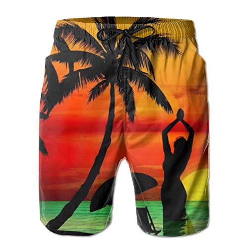 Elegant Swim Trunks with Drawstring, No Fading Sun Protection Swim Boardshort, 3D Tropical Sunset Clipart Palm Tree Surf Shorts for Sport Running Pool