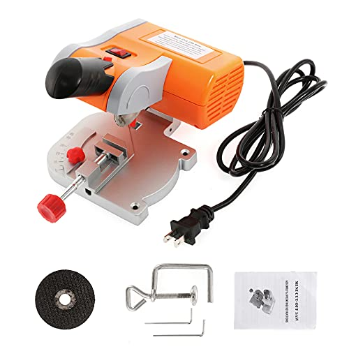 Mini Miter Saw Electric Power Table Saw Benchtop Cut-Off Chop Saw Max 45 Degree Cutting for Metal Wood Working Crafts Miniatures Plastic Compound Cutter, Orange
