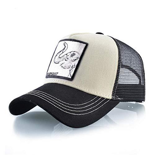 YDXC Hombres y Mujeres Aleta de béisbol Gorra Hip Hop Animal bordador Malla Transpirable Streetwear Trucker Verano-Beige