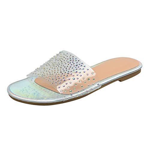 Damen Casual Hausschuhe mit Strass Open Toe Sandals, Women Outdoor Sandals Slippers Sandalen Sommer Slippers Sandaletten Sommerschuhe Strandsandalen Schuhe Sandaletten (Multicolor, 37)