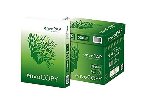EnvoCopy Zuckerrohrpapier, Multifunktionspapier, Kopierpapier, Druckerpapier, Din A4, Papier aus Zuckerrohr, Recycling, umweltfreundlich, weiß
