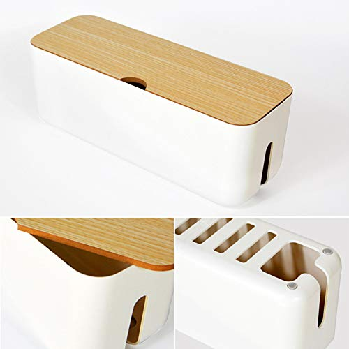 KOET Boîte de rangement pour câbles avec couvercle anti-poussière en plastique ABS
