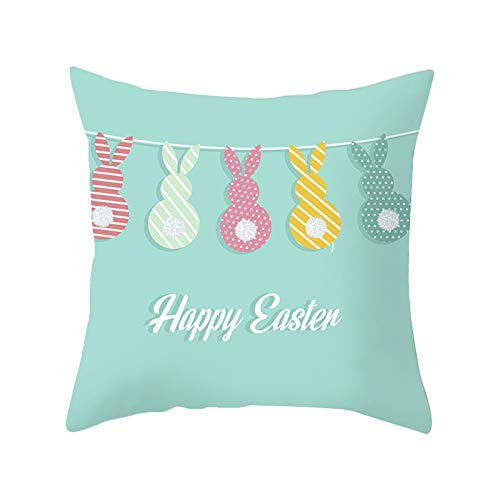 Fossen Conejo Día de Pascua Funda de Almohada Funda de sofá Funda de cojín Decoración casera Personalizada,Añade el Ambiente Festivo de la Pascua 45x45cm